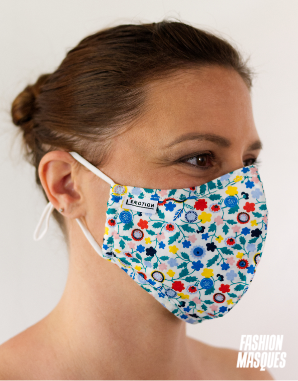 MASQUES MY MASK FLORAL JAUNE BLEU ROUGE SUR FOND BLANC - FASHION MASQUES - 3_4