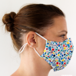 MASQUES MY MASK FLORAL JAUNE BLEU ROUGE SUR FOND BLANC - FASHION MASQUES - profil