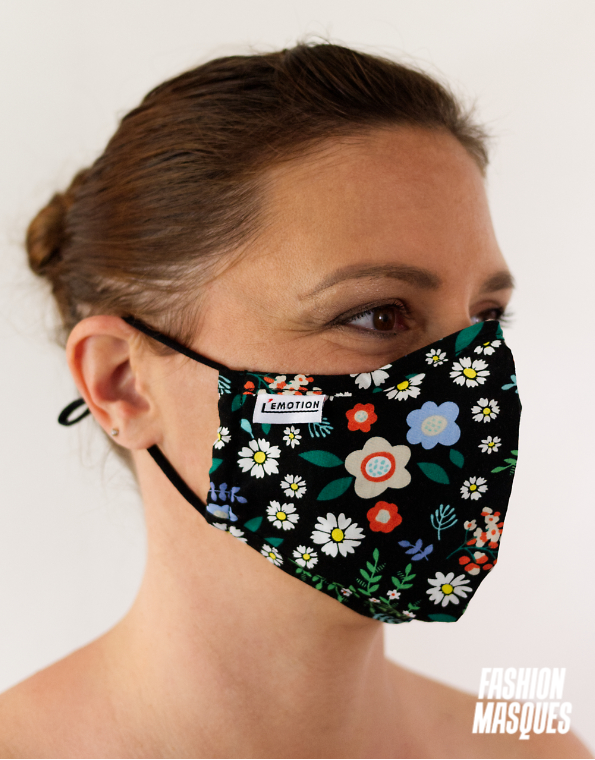 MASQUES MY MASK FLORAL JAUNE BLEU ROUGE SUR FOND NOIR - FASHION MASQUES - 3_4