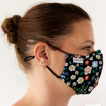 MASQUES MY MASK FLORAL JAUNE BLEU ROUGE SUR FOND NOIR - FASHION MASQUES - profil