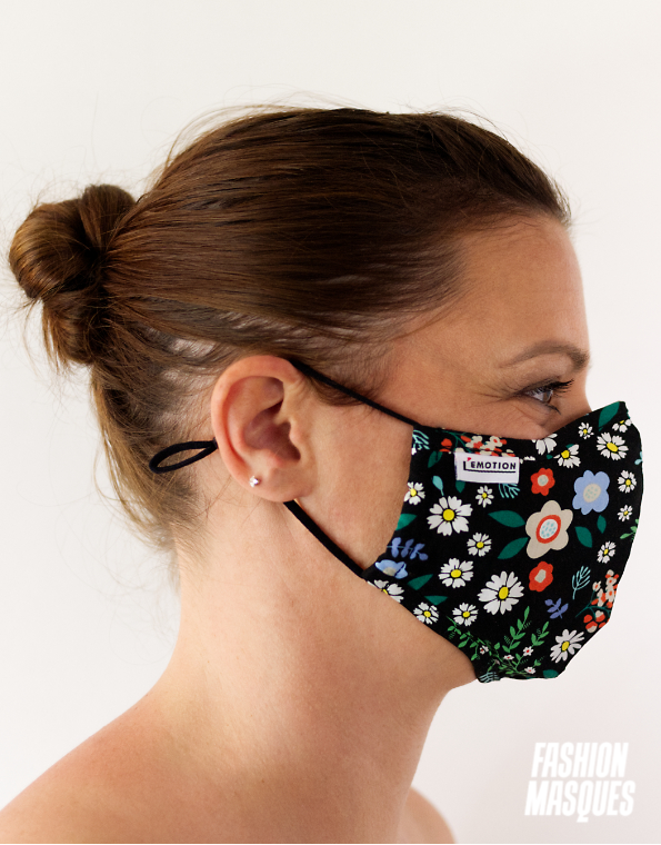 MASQUES MY MASK FLORAL JAUNE BLEU ROUGE SUR FOND NOIR – FASHION MASQUES – profil
