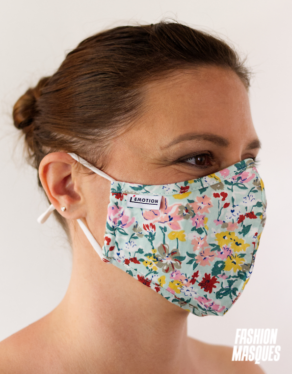 MASQUES MY MASK FLORAL JAUNE ROSE ROUGE SUR FOND VERT CLAIR - FASHION MASQUES - 3_4