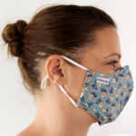 MASQUES MY MASK FLORAL JAUNE ROUGE SUR FOND BLEU - FASHION MASQUES - profil