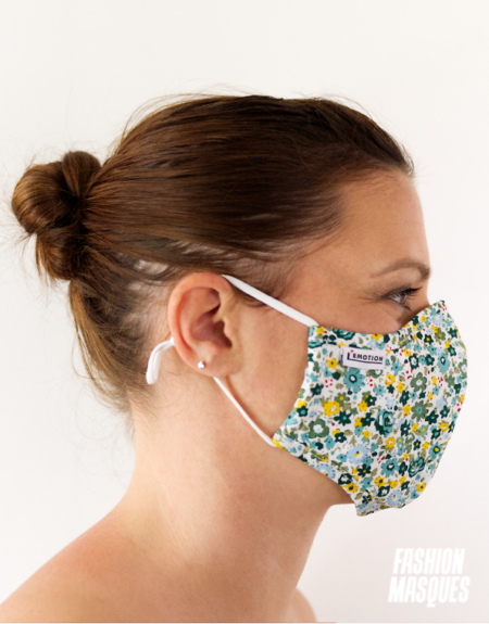 MASQUES MY MASK FLORAL JAUNE VERT SUR FOND BLANC - FASHION MASQUES - profil