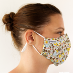 MASQUES MY MASK FLORAL KAKI JAUNE SUR FOND BLANC - FASHION MASQUES - profil