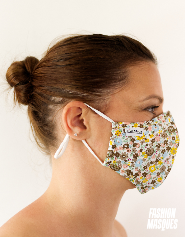 MASQUES MY MASK FLORAL KAKI JAUNE SUR FOND BLANC – FASHION MASQUES – profil
