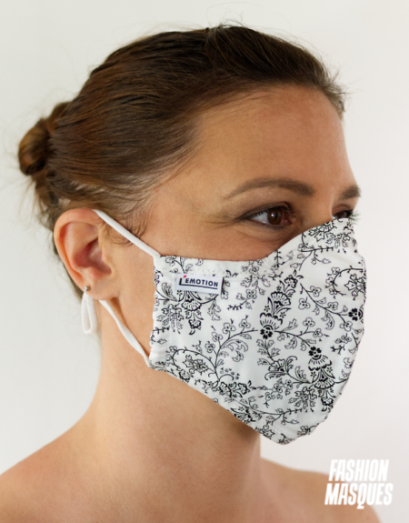 MASQUES MY MASK FLORAL NOIR SUR FOND BLANC - FASHION MASQUES - 3_4