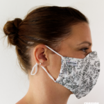 MASQUES MY MASK FLORAL NOIR SUR FOND BLANC - FASHION MASQUES - profil