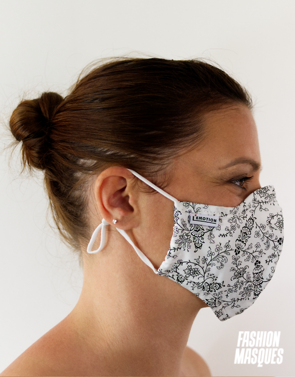MASQUES MY MASK FLORAL NOIR SUR FOND BLANC – FASHION MASQUES – profil