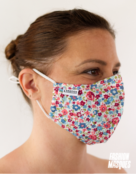 MASQUES MY MASK FLORAL ROUGE ROSE BLEU SUR FOND BLANC - FASHION MASQUES - 3_4