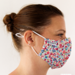 MASQUES MY MASK FLORAL ROUGE ROSE BLEU SUR FOND BLANC - FASHION MASQUES - profil