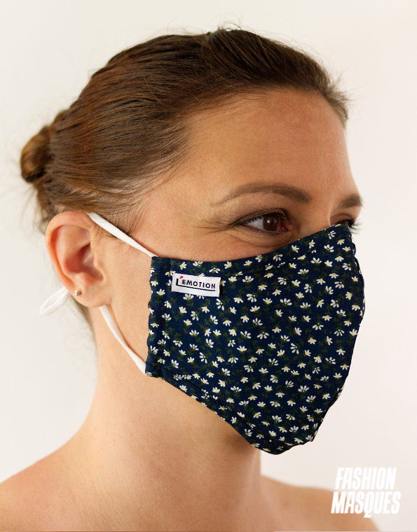 MASQUES MY MASK FLORAL SUR FOND BLEU MARINE - FASHION MASQUES - 3_4