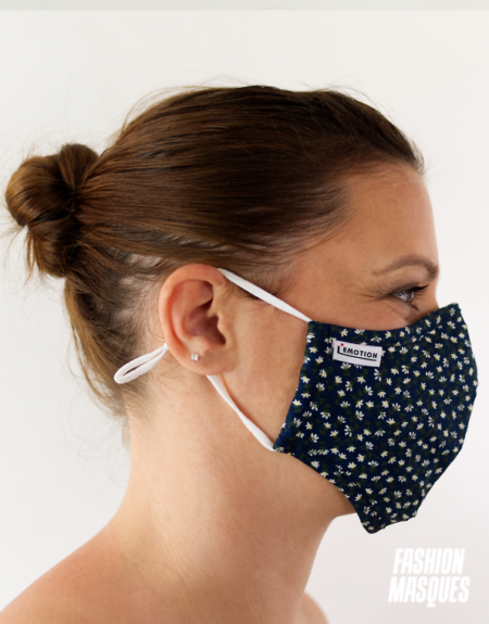MASQUES MY MASK FLORAL SUR FOND BLEU MARINE - FASHION MASQUES - profil