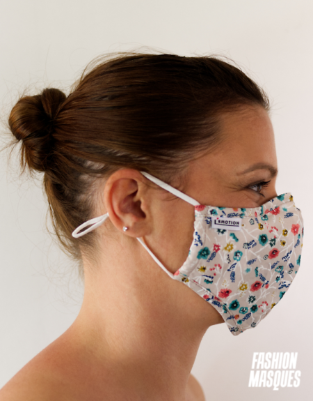 MASQUES MY MASK FLORAL SUR FOND BRUN - FASHION MASQUES - profil