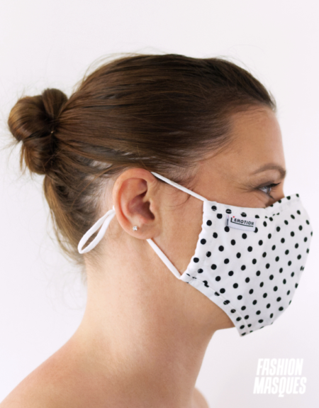 MASQUES MY MASK POIS NOIRS SUR FOND BLANC - FASHION MASQUES - profil