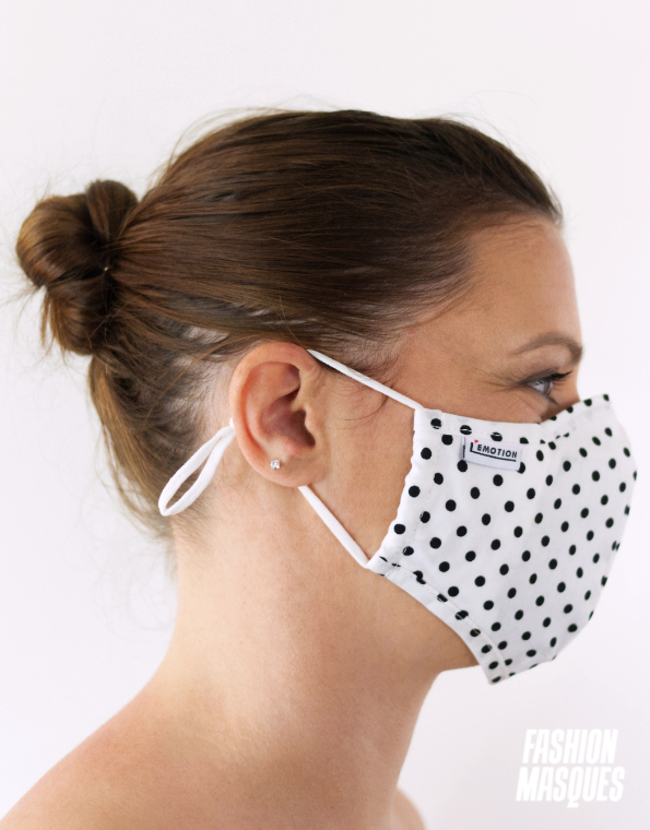 MASQUES MY MASK POIS NOIRS SUR FOND BLANC – FASHION MASQUES – profil