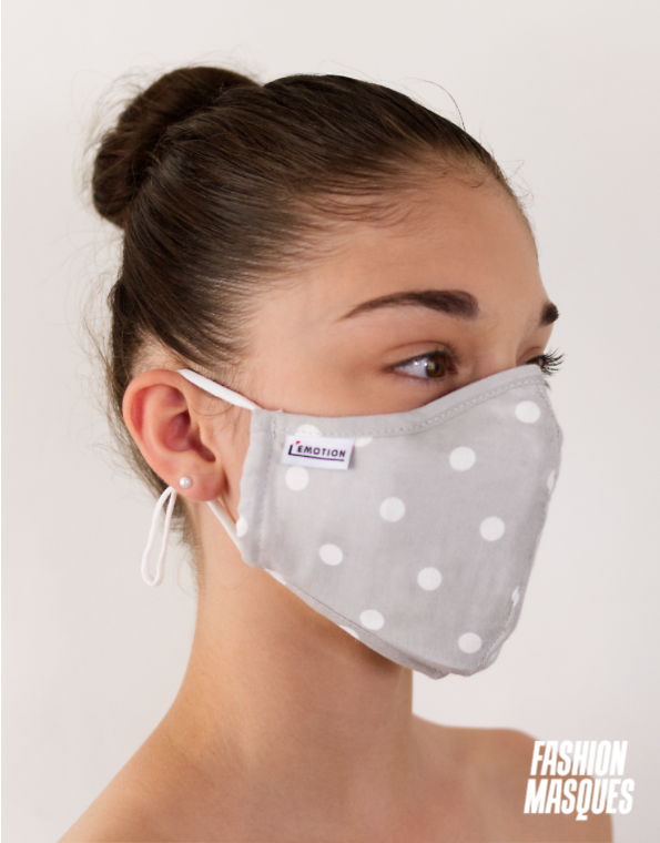 MASQUES UNISEX MODÈLE POIS BLANC - FASHION MASQUES - 3-4